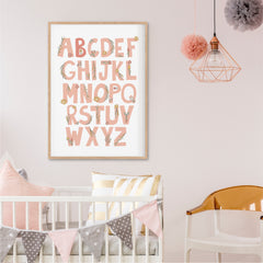Floral Alphabet Personalised Print - girls wall art print - Happy Joy Decor