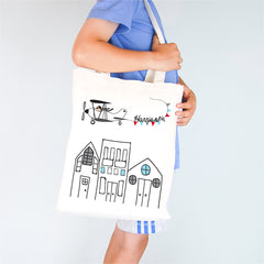 Flying High Personalised Boys Library Tote Bag - Happy Joy Decor