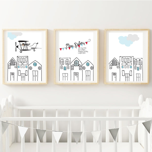 Flying High Plane Printable Personalised Birth Wall Art Set - Happy Joy Decor