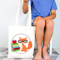Smart Fox Personalised Boys Library Tote Bag