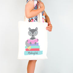Girls Fox Personalised Library Tote Bag - Happy Joy Decor