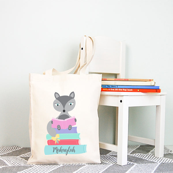 Girls Fox Personalised Library Tote Bag