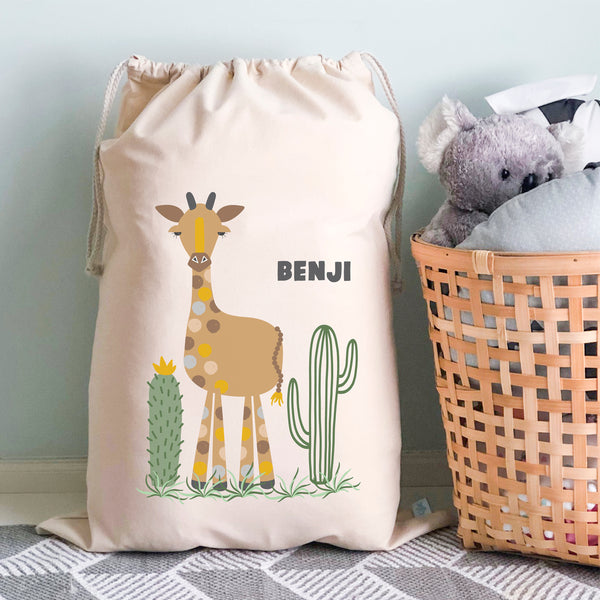 Giraffe Personalised Toy Storage Sack - Happy joy Decor