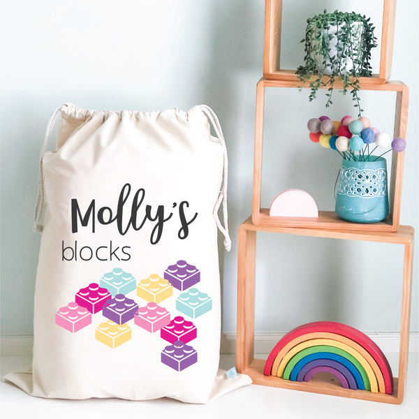 Girls Blocks Personalised Storage Sack - Happy Joy Decor