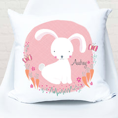 Sweet Bunny Girl's Personalised Cushion for nursery or girls bedroom decor
