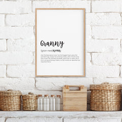 Granny Definition Print - Gifts For Grandparents - Happy Joy Decor