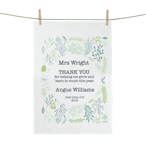 Growing Plant Teachers Gift Personalised Tea Towel - Happy Joy Decor