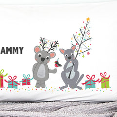 Koala & Kangaroo Christmas Personalised Pillowcase - Happy Joy Decor
