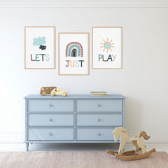 Let's Just Play Wall Art Set - Playroom Prints - Happy Joy Decor