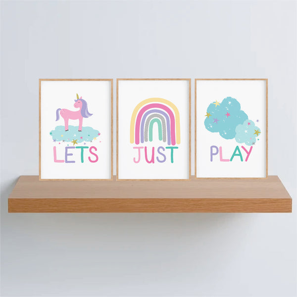 Let's Just Play Wall Art Set - Girls Rainbow Wall Art - Happy Joy Decor