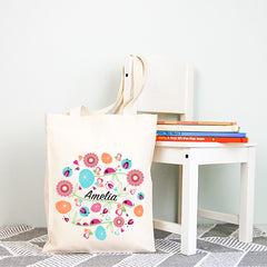 Ladybird Garden Girls Personalised Library Tote Bag - Happy Joy Decor