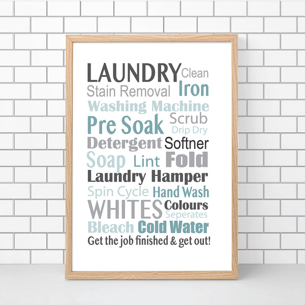 Laundry Typography Wall Art Printable Greys Blue