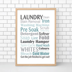 Laundry Typography Wall Art Print - Blues & Greys - Happy Joy Decor