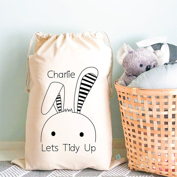 Bunny Personalised Toy Storage Sack - Happy Joy Decor