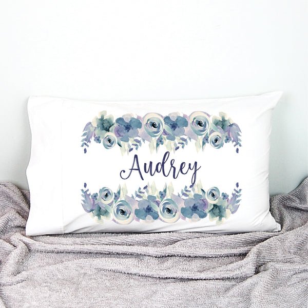 This personalised pillowcase has been created with gorgeous lilac watercolour flowers. It's so soft & pretty & will look gorgeous in her bedroom. The pillowcase cover will be ideal as a first pillowcase, perfect for daycare & sleepovers. A great addition to the bedroom as well. - Happy Joy Decor