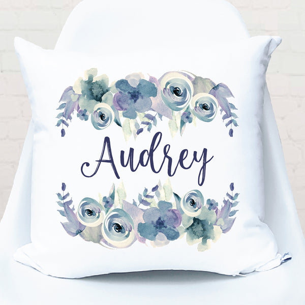 Lilac Floral Watercolour Personalised Cushion - Happy Joy Decor