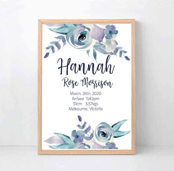 Lilac Watercolour Personalised Birth Print - Happy Joy Decor
