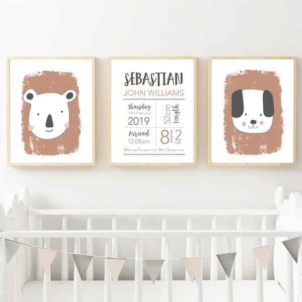 Little animals animal terracotta nursery birth print set - Happy Joy Decor