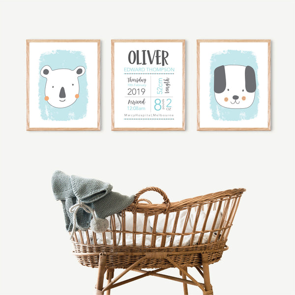 Little animals animal nursery birth print set - Happy Joy Decor