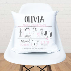 Little animals girls personalised birth cushion - Happy Joy Decor