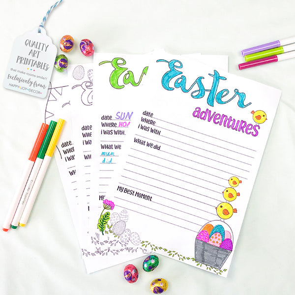 Easter Colouring Journal Pages - Happy Joy Decor
