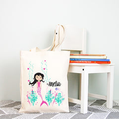 Mermaid Girls Personalised Library Tote Bag - Happy Joy Decor
