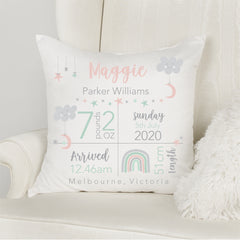 Star and Moon Birth Stat Cushion - Happy Joy Decor