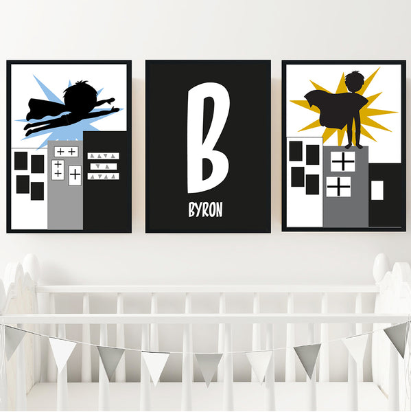 Superhero Boy's Monochrome Printable Personalised Wall Art