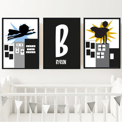 Superhero Boy's Personalised Print Set - Happy Joy Decor