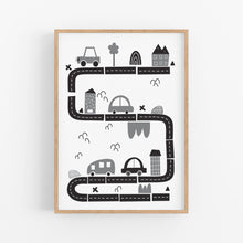 Load image into Gallery viewer, Monochrome Traffic Print - Playroom Wall prints - Happy Joy Decor