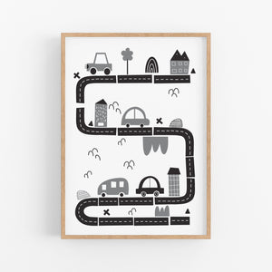 Monochrome Traffic Print - Playroom Wall prints - Happy Joy Decor