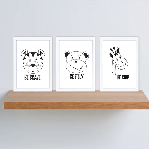 Monochrome Be Brave Silly Kind Animal Instant Download Printable Wall Art Set - Happy Joy Decor