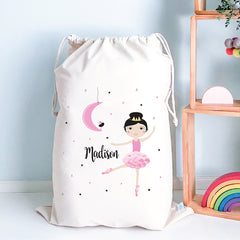 Ballerina Personalised Toy Storage Sack - Happy Joy Decor