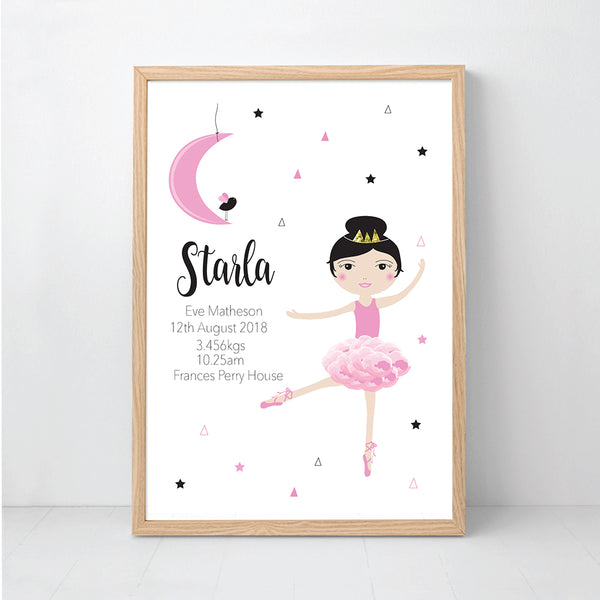 Moon Dancer Girl's Personalised Birth Wall Art Prints