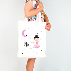 Moon Dancer Girls Personalised Library Tote Bag - Happy Joy Decor