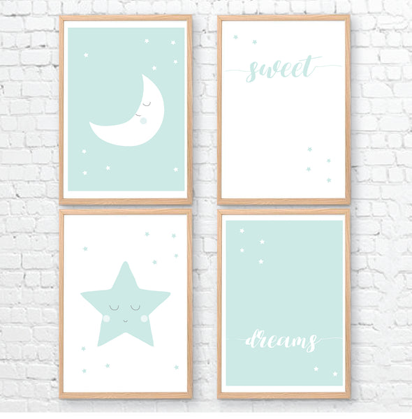 Mint Moon Star Sweet Dreams Printable Wall Art - Happy Joy Decor