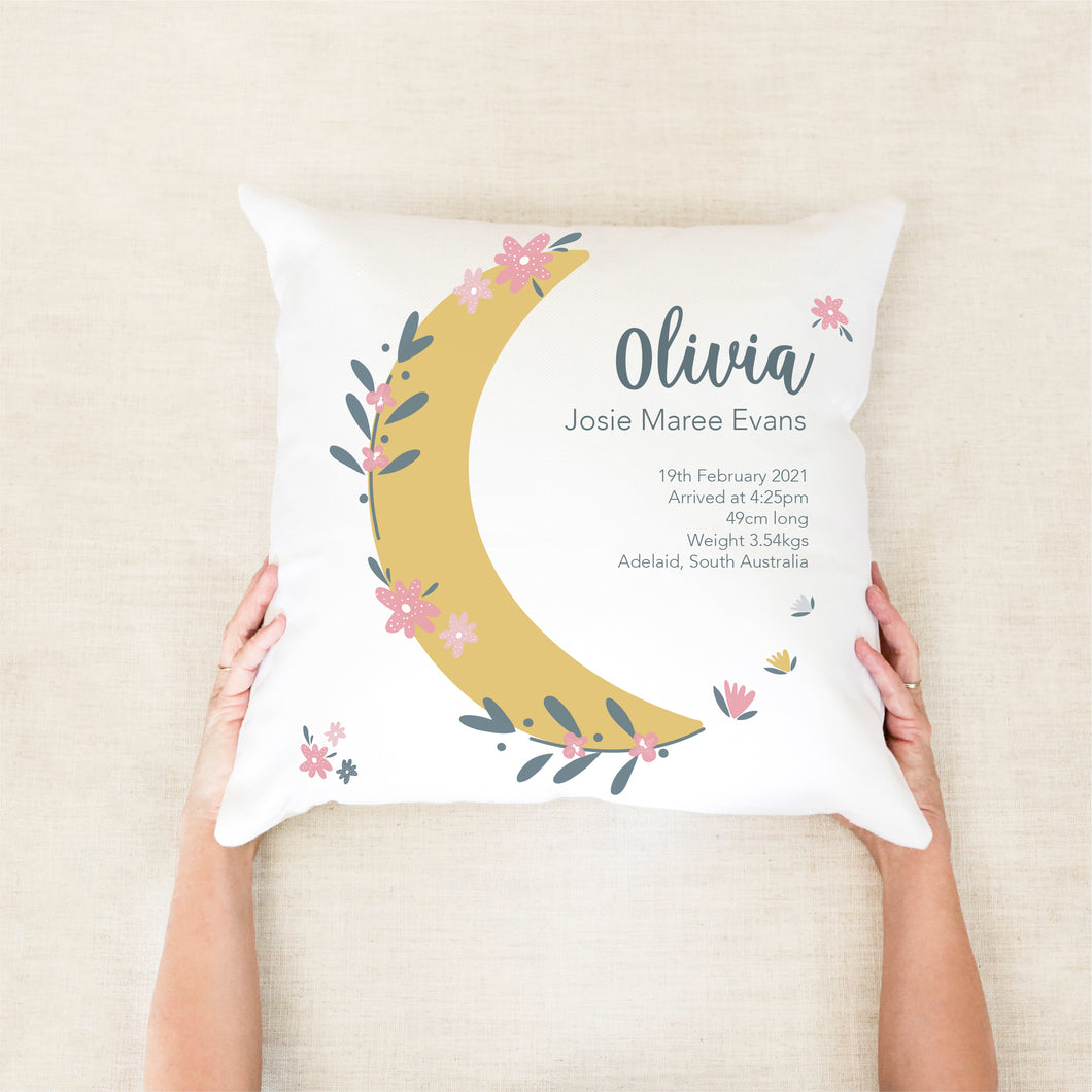 Moon Girl's Birth Stat Cushion - Girls Nursery Decor - Happy joy Decor
