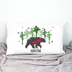 Mountain Bear Christmas Personalised Pillowcase - Happy Joy Decor