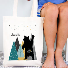Mountain Bear Personalised Library Tote Bag - Happy Joy Decor