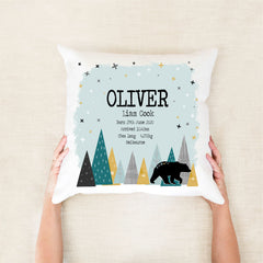 Mountain bear birth stat cushion - Happy Joy Decor