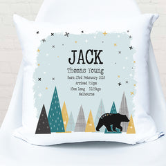 Mountain bear personalised birth cushion - Happy Joy Decor