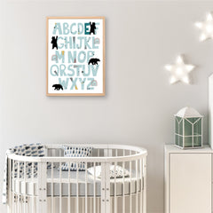 Alphabet mountain Bear Personalised Print - Boys wall Art - Happy Joy Decor