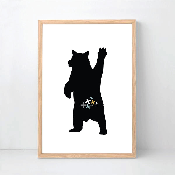 Mountain Bear White Printable Wall Art - Happy Joy Decor