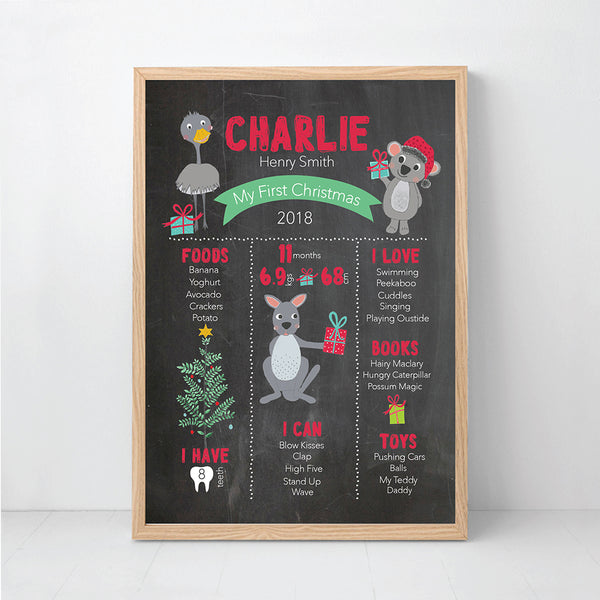 My First Christmas Milestone Print - Blackboard Australian Animals