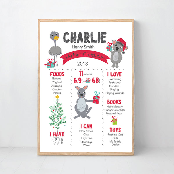 My First Christmas Milestone Print - Australian Animals - Happy Joy Decor