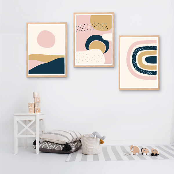 Navy Pink Abstract Sunset Printable Set - Happy Joy Decor