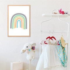 Neutral Rainbow Nursery Wall Art Printable Instant Download - Happy Joy Decor