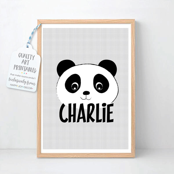 Panda Printable Personalised Kid's Wall Art