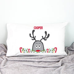 Peeping Up Reindeer Personalised Pillowcase - Happy Joy Decor