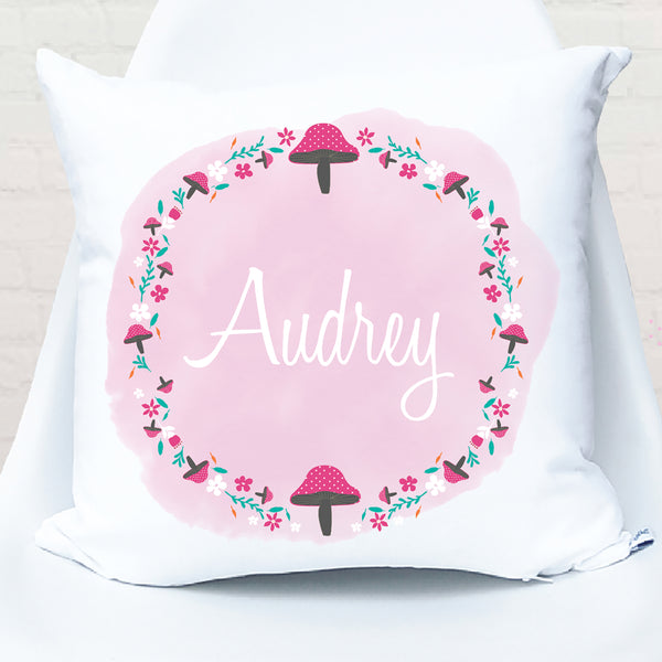Pink Toadstool Personalised Cushion - Happy Joy Decor